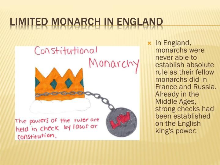 In England, monarchs were never able to establish absolute rule as their fellow monarchs