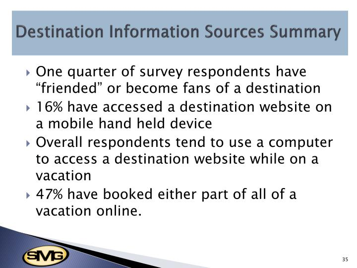 Destination Information Sources Summary