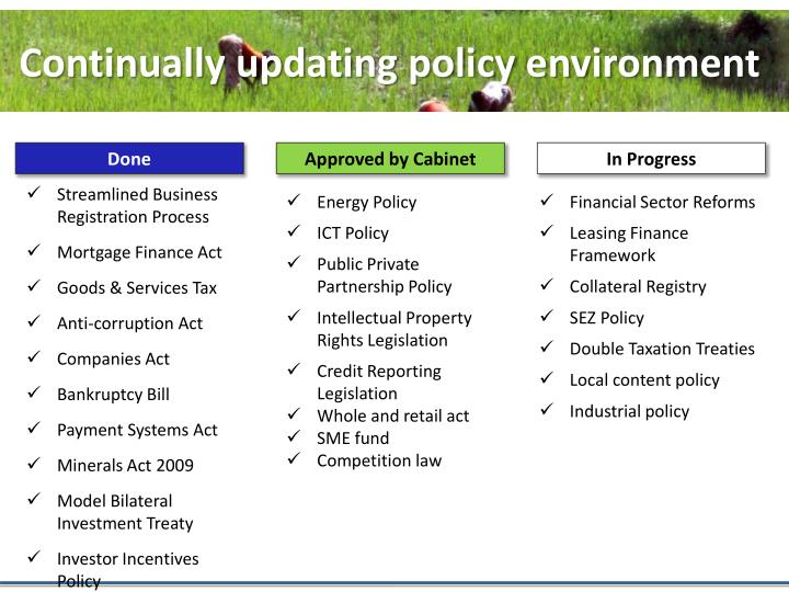 Continually updating policy environment