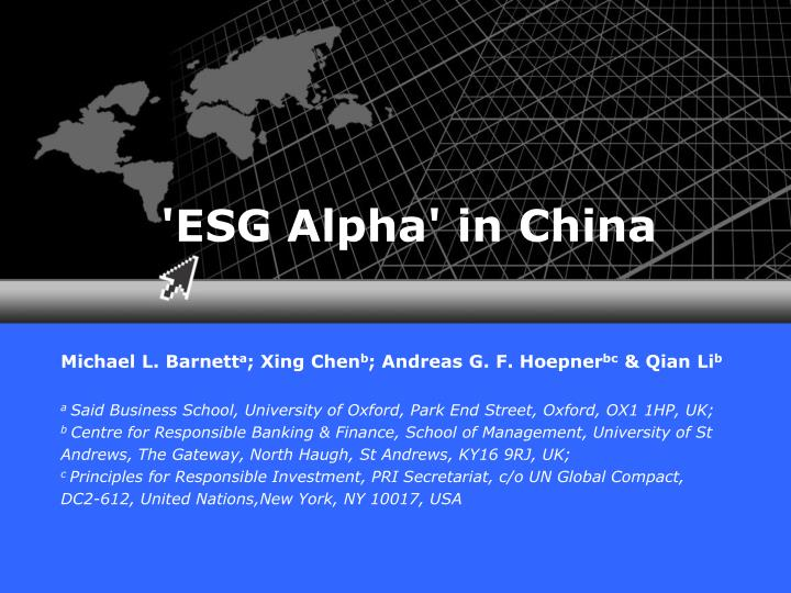 Esg alpha in china