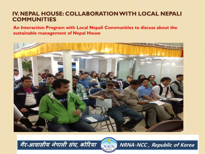 IV. Nepal House: Collaboration with local