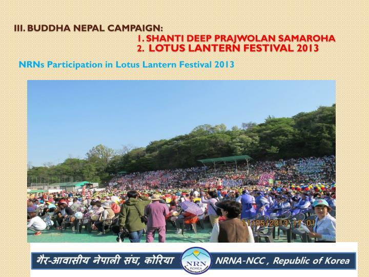 III. Buddha Nepal Campaign: