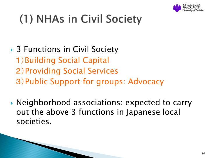 (1) NHAs in Civil Society