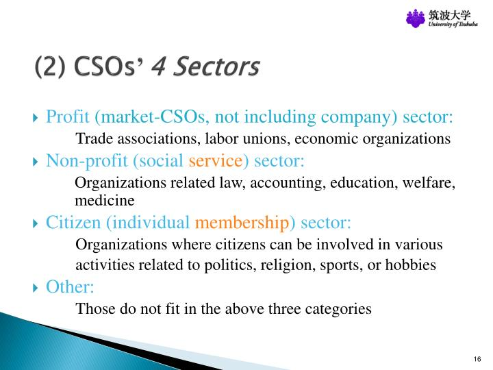 (2) CSOs