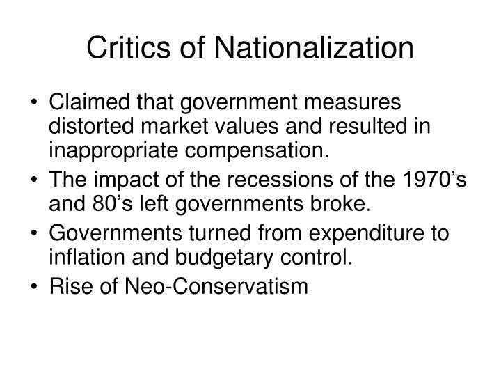 Critics of Nationalization