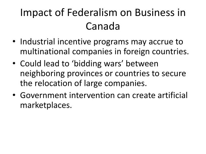 Impact of Federalism on Business in Canada