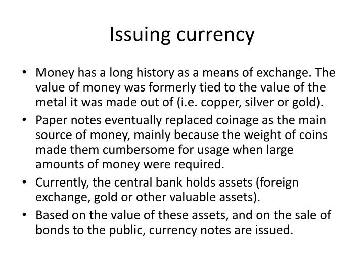 Issuing currency