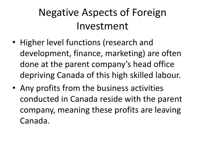 Negative Aspects of Foreign Investment