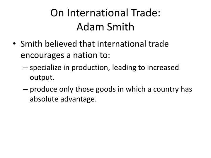 On International Trade: