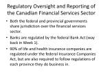 regulatory oversight and reporting of the canadian financial services sector