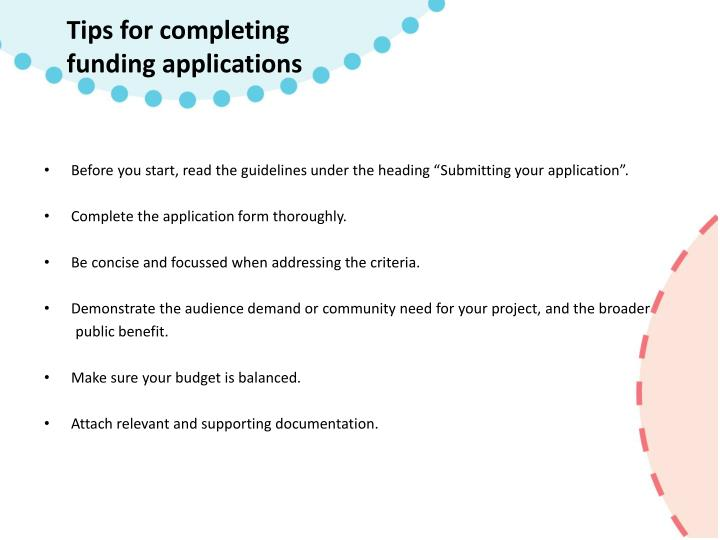 Tips for completing funding applications