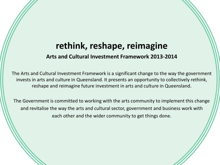 rethink, reshape, reimagine