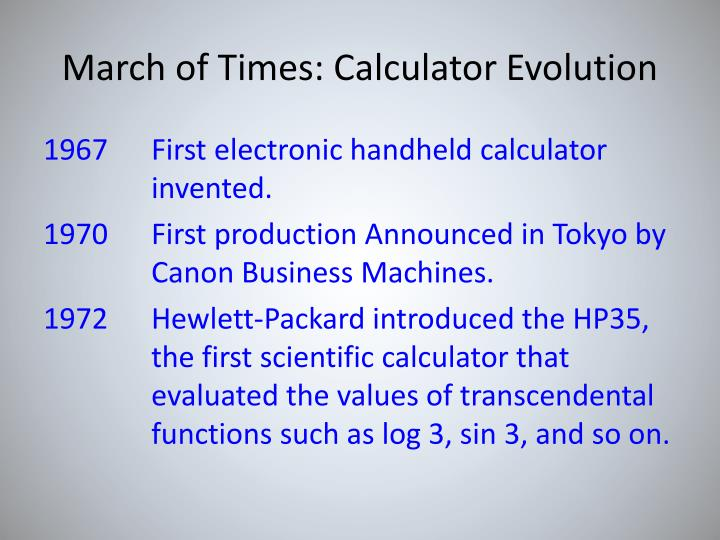 March of Times: Calculator Evolution