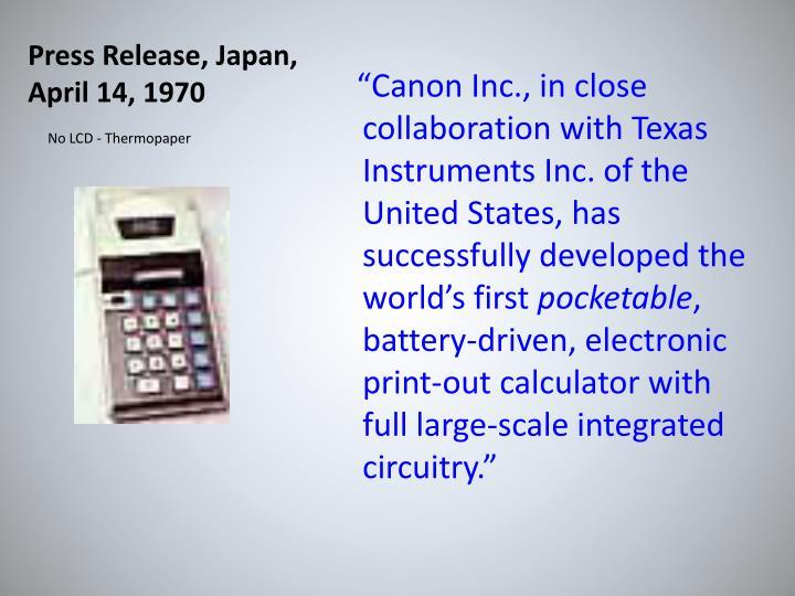 Press Release, Japan, April 14, 1970