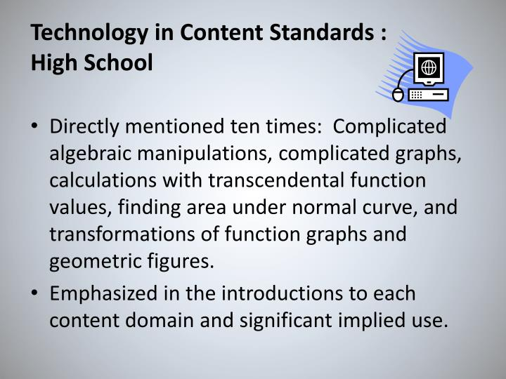 Technology in Content Standards :