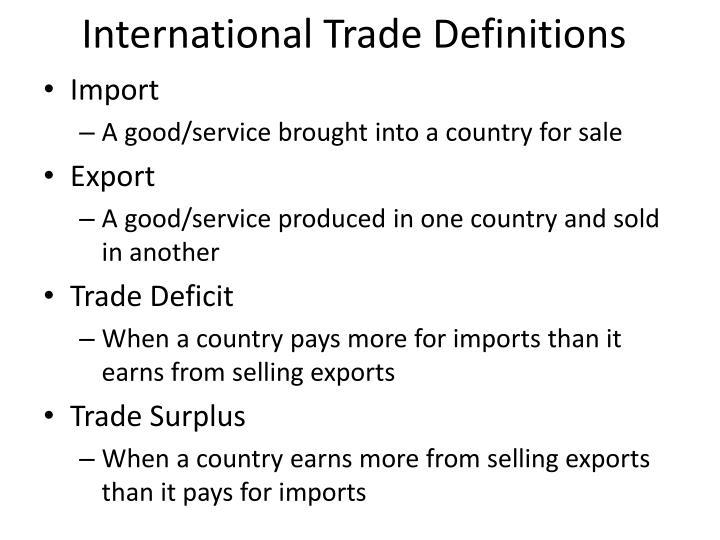 International Trade Definitions