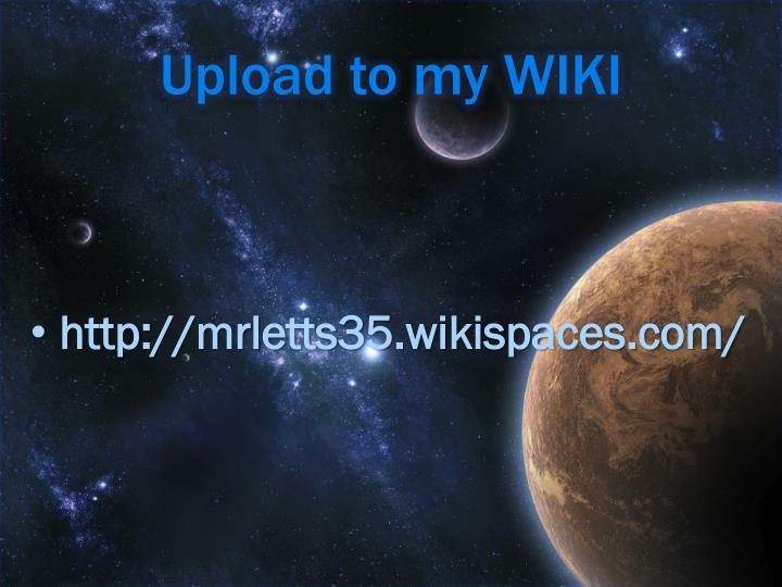 Upload to my WIKI