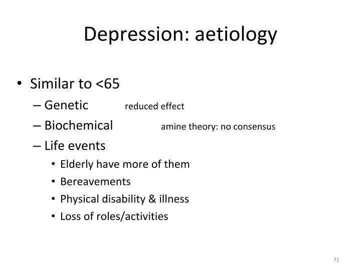 Depression: aetiology