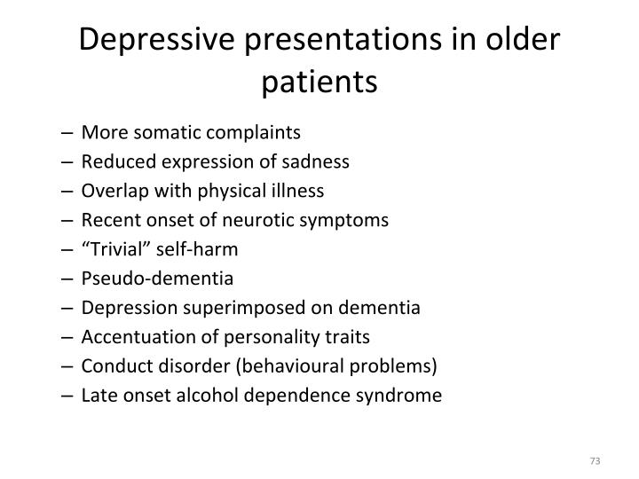 Depressive presentations in older patients
