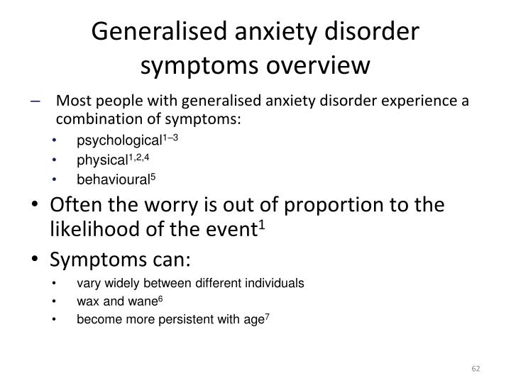 Generalised anxiety disorder symptoms overview
