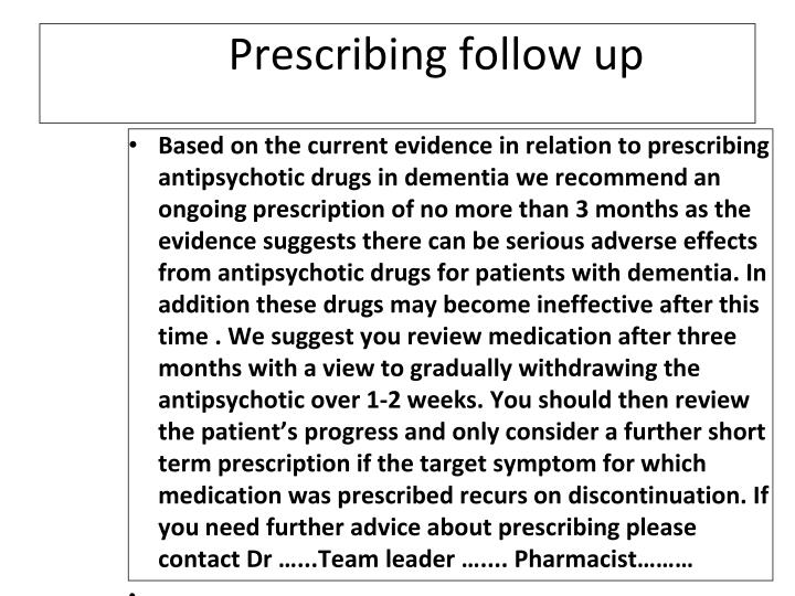 Prescribing follow up
