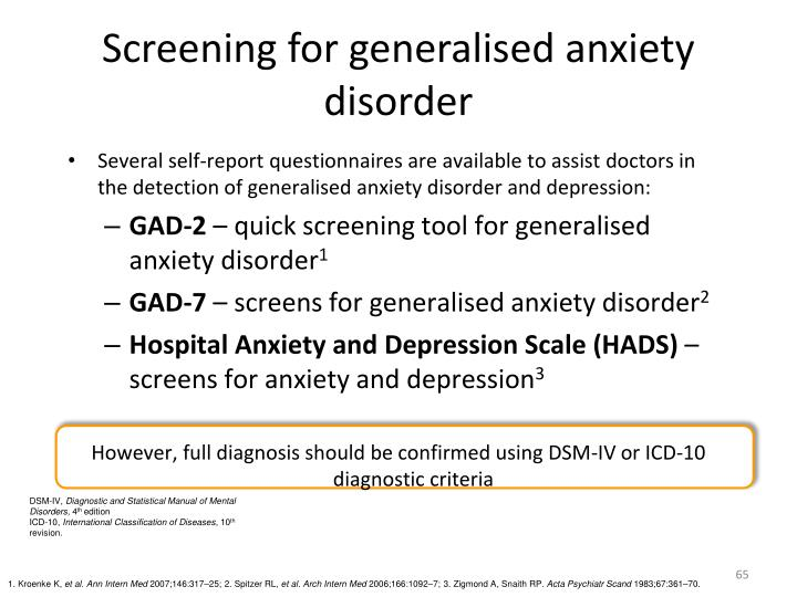 Screening for generalised anxiety disorder