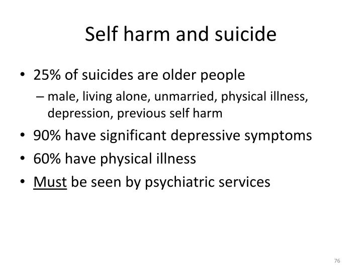Self harm and suicide