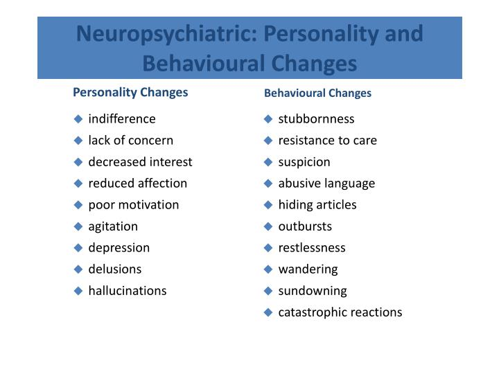 Neuropsychiatric: Personality and Behavioural Changes