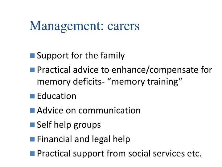 Management: carers