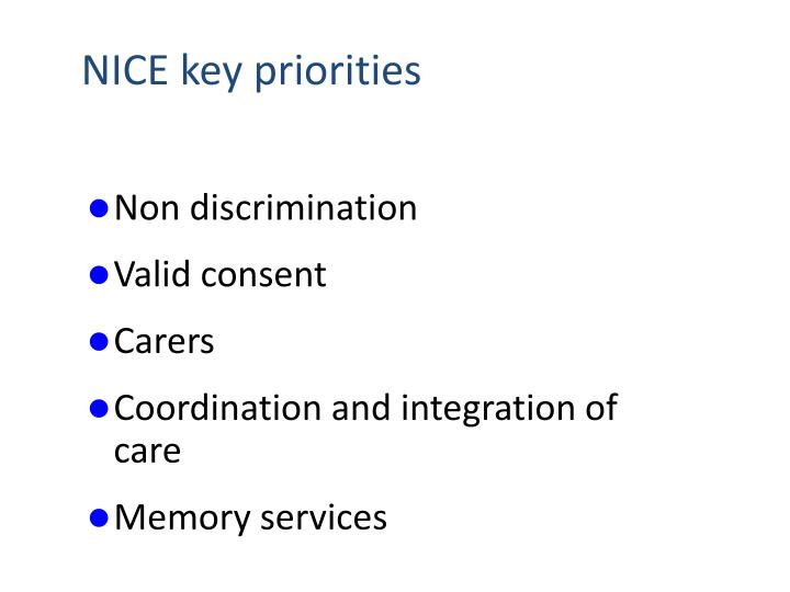 NICE key priorities