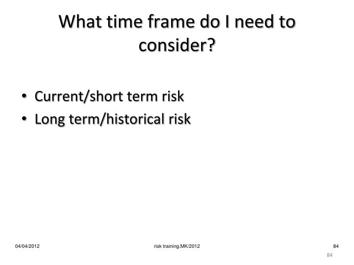 What time frame do I need to consider?