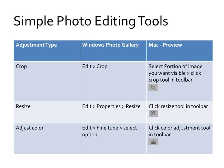 Simple Photo Editing Tools