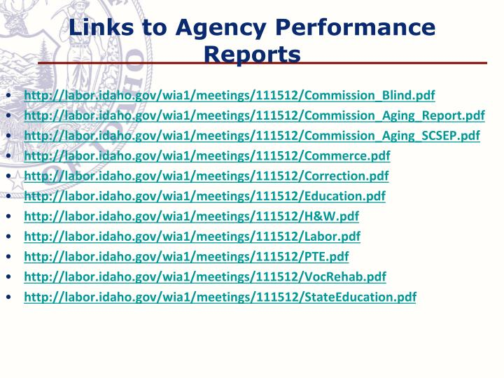 Links to Agency Performance Reports