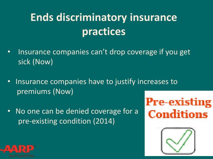 Ends discriminatory insurance