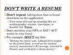 don t write a resume
