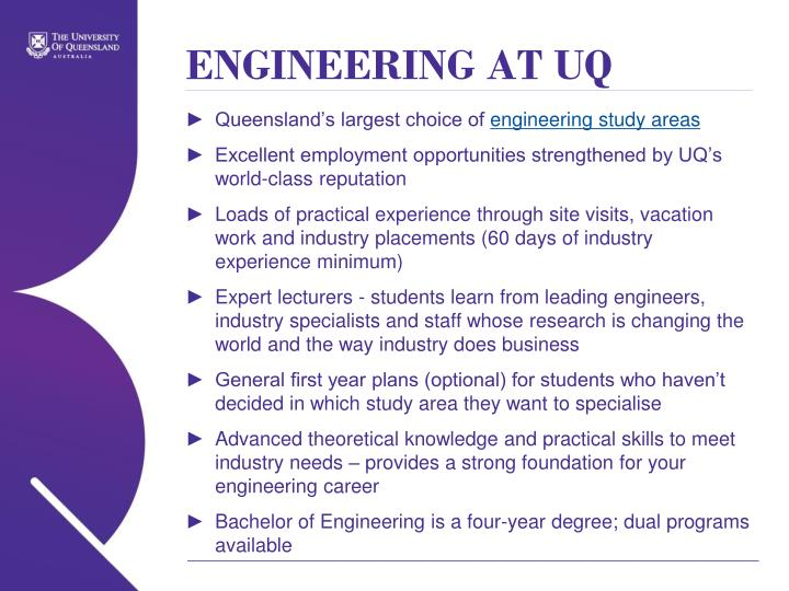 ENGINEERING AT UQ