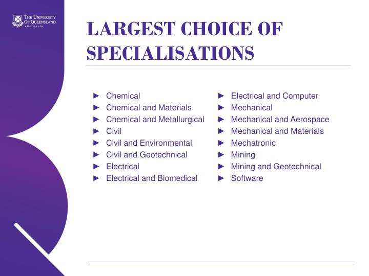 LARGEST CHOICE OF SPECIALISATIONS
