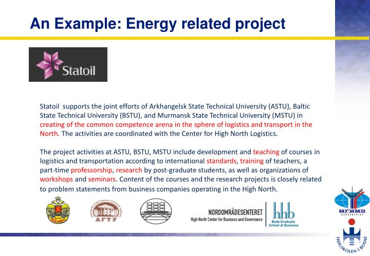 An Example: Energy related project