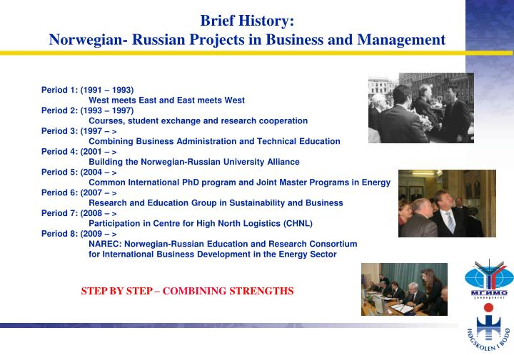 Brief history norwegian russian projects in business and management