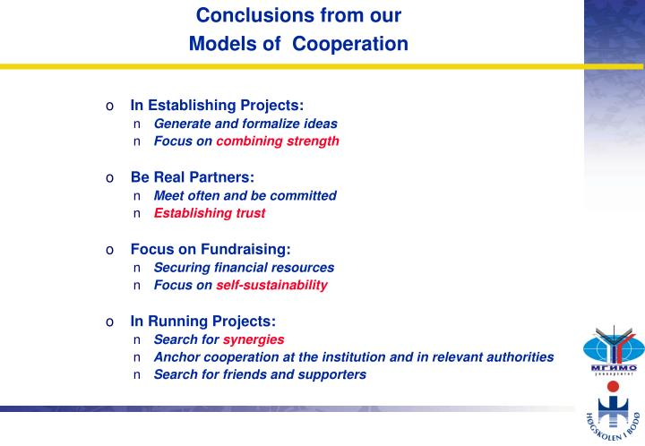 Conclusions from our