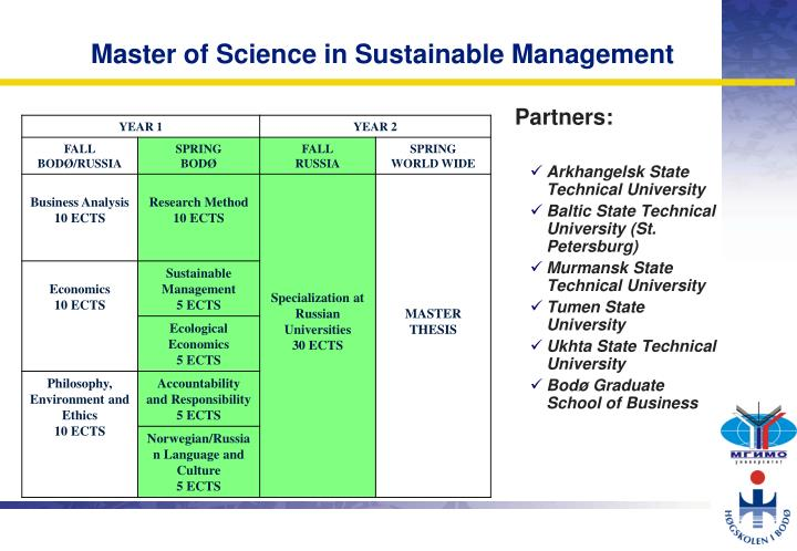 Master of Science in Sustainable Management