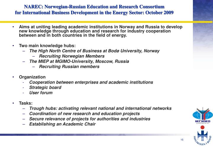 NAREC: Norwegian-Russian Education and Research Consortium