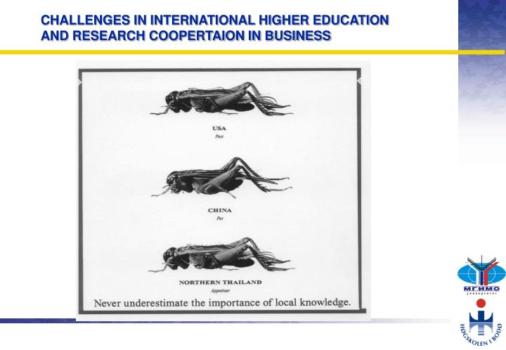 CHALLENGES IN INTERNATIONAL HIGHER EDUCATION