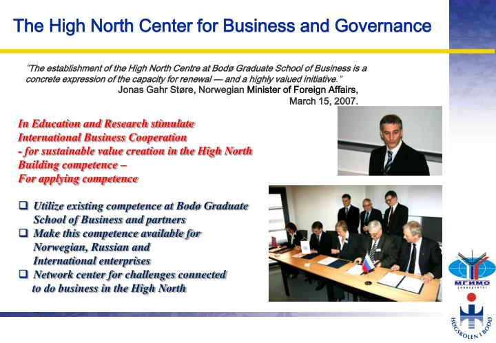 The high north center for business and governance