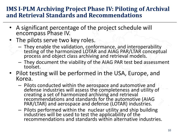 IMS I-PLM Archiving Project Phase IV: Piloting of Archival and Retrieval Standards and Recommendations
