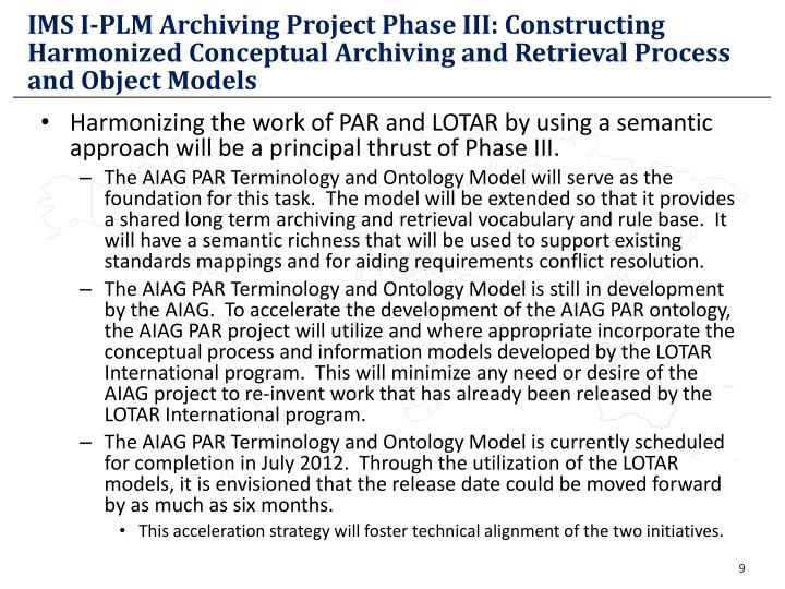IMS I-PLM Archiving