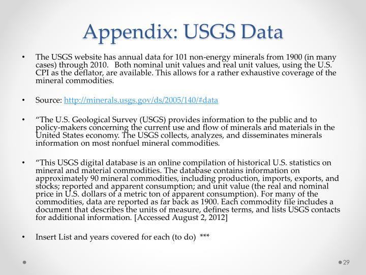 Appendix: USGS Data