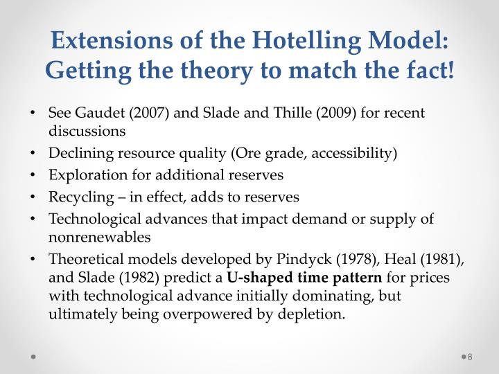 Extensions of the Hotelling Model: Getting the theory to match the fact!