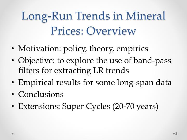 Long-Run Trends in Mineral Prices: Overview