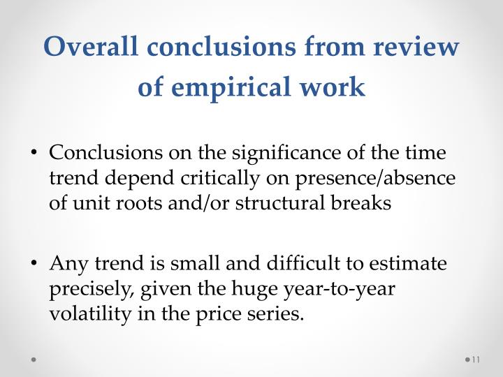 Overall conclusions from review of empirical work